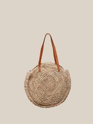 Round Rattan Bag with leather handle-0